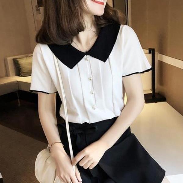 短袖T恤 娃娃領韓版寬鬆夏季T恤女裝上衣2021年新款冰絲針織衫薄女士短袖 維多原創