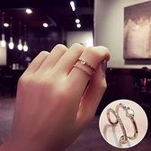 戒指 925純銀 鑲鑽-時尚簡約生日情人節禮物女開口戒73dv36【時尚巴黎】