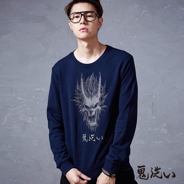 【限時優惠】馬賽克鬼頭繡花厚絨長TEE(丈青) - 鬼洗い BLUE WAY