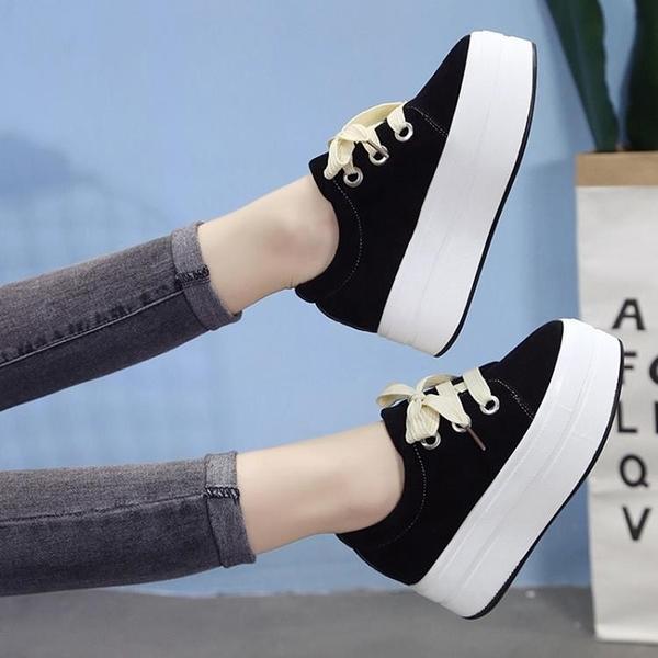 鞋子女韓版百搭鬆糕厚底內增高休閒鞋zipper學生單鞋 麻吉好貨