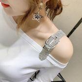 夏裝新款港風時尚鑲鑚短袖T恤女修身純棉洋氣半袖丅恤露肩上衣潮「米蘭街頭」