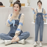 快速出貨 吊帶褲冬減齡牛仔吊帶褲女韓版寬鬆新款時尚套裝可愛日系小個子洋氣