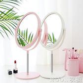 化妝鏡 臺式宿舍化妝鏡子桌面便攜小折疊網紅學生led帶燈雙面梳妝鏡掛牆 moon衣櫥