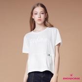 【SHOWCASE】休閒亮片繡字寬版短袖T恤(白)