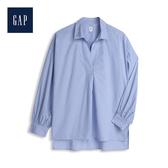 Gap 女裝 棉質舒適V開領褶皺襯衫 554507-淺藍
