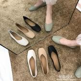 豆豆鞋女新款春夏百搭女單鞋平底網紅淺口黑色上班工作鞋女 完美情人
