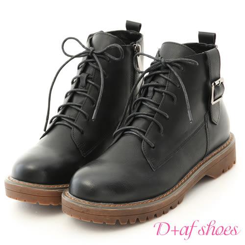 靴子 D+AF 個性酷感.釦環綁帶休閒馬丁短靴*黑