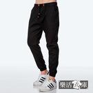 【8933】韓系潮款皮標抽繩束口休閒長褲(黑色)● 樂活衣庫