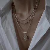 疊戴項鍊歐美裝飾項鍊女ins潮網紅輕奢小眾設計感冷淡風毛衣鍊疊戴鎖骨鍊 晶彩