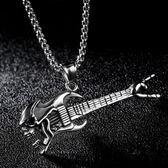 《 QBOX 》FASHION 飾品【C100N1340】精緻個性惡魔骷顱頭吉他鈦鋼墬子項鍊(二色)