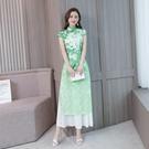 越南旗袍洋裝 法式旗袍年輕款2021新款民族風少女裝走秀演出服改良版奧黛連身裙