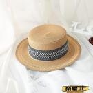 平頂帽 夏天平頂小禮帽復古風女士太陽帽遮陽防曬沙灘度假英倫爵士草帽子【99免運】