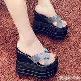 厚底涼鞋 14cm坡跟超跟高防水臺松糕厚底鏤空亮片魚嘴女鞋內增高百搭拖