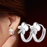 葉草耳扣五葉花朵鍍銀耳環 女 韓版飾品ebay防過敏《小師妹》ps317