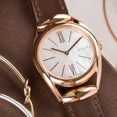 GUCCI Horsebit 古典優雅玫瑰金皮革腕錶 YA140507 熱賣中!