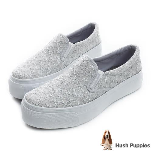 Hush Puppies 浪漫蕾絲咖啡紗厚底懶人鞋-石英灰