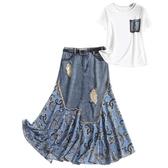 短袖套裝(兩件套)-T恤雪紡拼接牛仔裙女裙子2色73yd14【時尚巴黎】