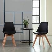 E-home EMSB北歐造型軟墊櫸木腳餐椅-黑色