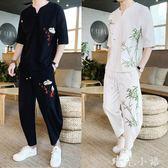中國風夏季休閒一套裝男裝潮流韓版帥氣胖子衣服個性短袖T恤兩件  晴光小語