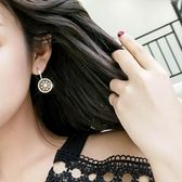 耳環女純銀氣質簡約百搭圓圈鑲鑚圓盤耳墜ins網紅超仙韓國耳釘·享家生活館