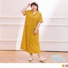 《DA8629》雲朵自訂款-簡約質感V領襯衫洋裝 OrangeBear