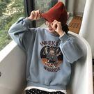 秋冬新款韓版寬鬆印花字母假兩件加絨套頭衛衣長袖上衣女裝潮  LM々樂買精品