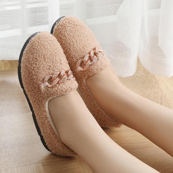 棉鞋女士秋冬學生保暖加絨毛毛韓版低幫平底懶人豆豆鞋防滑一腳蹬 伊蒂斯