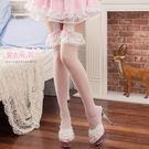 褲襪 寬版蕾絲一體成型不滑落透膚絲襪 黑白色- 愛衣朵拉