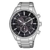 CITIZEN 光動能時尚鈦金屬三眼腕錶-銀X黑-CB5020-87E