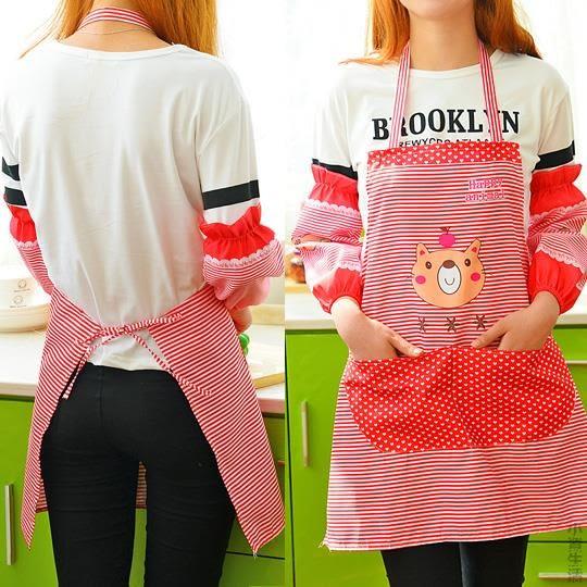 韓版廚房防油卡通帶袖套圍裙套裝防水防污圍腰男女通用罩衣兩件套JRM-1426
