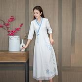 民国女装唐装秋汉服改良中国风旗袍上衣文艺扣中式茶服连衣裙夏 茱莉亞