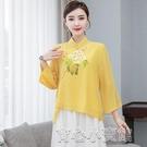 唐裝 唐裝女年輕版時尚上衣中國風復古中式民國風女裝漢服古裝旗袍改良 17育心