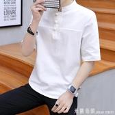 棉麻t恤男裝中國風短袖男士盤扣五分袖上衣大碼亞麻T恤薄夏季寬鬆