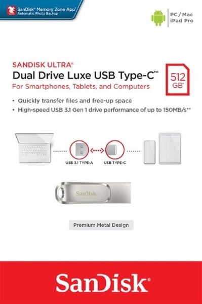 SanDisk 512GB 512G Ultra Luxe TYPE-C【SDDDC4-512G】OTG USB 3.1 雙用隨身碟