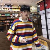 ins風超火的彩虹條毛衣韓版寬鬆學生圓領休閒針織衫潮 時尚潮流