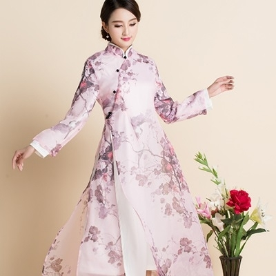旗袍-長袖唐裝優雅碎花寬鬆女連身裙73oi3【時尚巴黎】