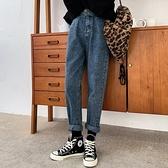 直筒牛仔褲 顯瘦59902#高腰牛仔褲女直筒寬松設計感復古收腹顯瘦老爹哈倫褲子1F157.1號公館