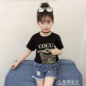 女童短袖T恤女夏裝新款潮半袖兒童中大童棉T恤女寶上衣貓頭衫花間公主