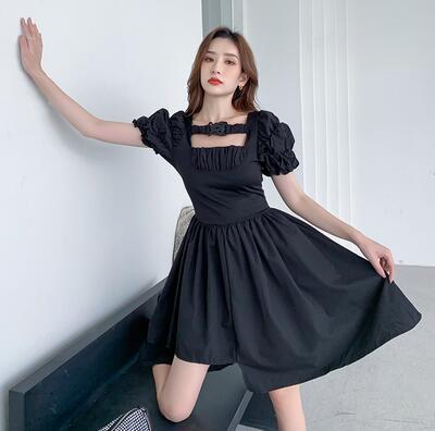 洋裝泡泡袖不規則連身裙S-XL泡泡袖連身裙女法式方領寬松顯瘦不規則裙子9869 2F-C17-A 韓依紡
