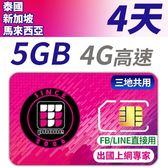 【TPHONE上網專家】 新加坡 馬來西亞 泰國 5GB超大流量高速上網 4天 三地共用 插卡即用