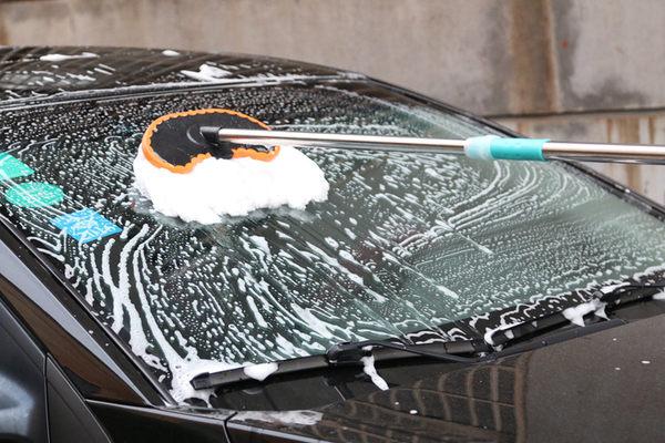 【 洗車拖把】汽車用可伸縮長柄洗車刷 車載牛奶絲絨清潔刷 除塵刷 打蠟拖