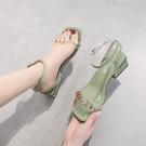 涼鞋2020年夏新款仙女風粗跟3cm低跟百搭5法式一字帶中跟小高跟鞋