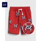 Gap男嬰幼童 印花鬆緊腰彈力針織短褲 419137-正紅色