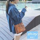 【P130】shiny藍格子-復古文藝.時尚小巧好搭斜挎單肩小方包