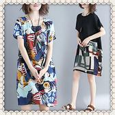 大尺碼女裝 民族風中長裙子 民族風洋裝 印花民族風棉麻拼接短袖連身裙 萬聖節狂歡價