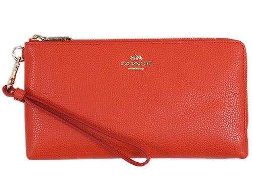 米菲客 COACH 經典馬車LOGO設計 時尚素面款 荔枝紋牛皮材質 雙拉鍊 手拿包 長夾(橘)53089
