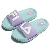 FILA 童鞋 拖鞋 綠紫 立體LOGO 防水 膠拖 中童 (布魯克林) 2S428V391