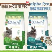 *WANG*西班牙CUNIPIC《αlpha Pro頂級無穀 幼兔2kg|成兔1.75kg 飼料》兔飼料
