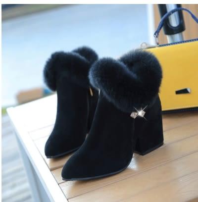小鄧子時尚秋冬韓版靴子加絨百搭粗跟高跟拉鍊短筒毛毛靴女帶毛馬丁靴潮