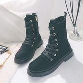 2018冬季英倫黑色機車靴女平底加絨短靴帥氣低跟學生復古馬丁靴子  初見居家